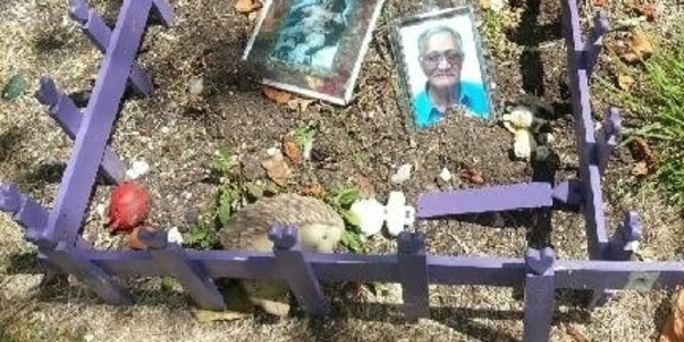 The grave of Stephanie Pinkerton's daughter and her father has been destroyed by vandals. Photo/Supplied