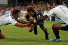Ben Smith of the Highlanders scores a try during the round two Super Rugby match between the Highlanders and the Blues. Photo / Getty Images.