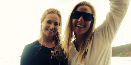 Marine conservationist Ocean Ramsey and journalist Jamie Joseph after their blue shark encounter.