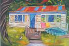 Fun art in bright colours helps brighten a room.