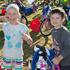Maise and Dominic Day-Ellis get ready before the Sanitarium Weet-Bix Kids TRYathlon. Photo / Greg Bowker