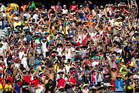 Fans get into the spirit of the NRL Auckland Nines at Eden Park. Photo / Richard Robinson