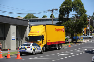 The scene outside Countdown on Richmond Road where a woman was injured. Photo / Chris Loufte