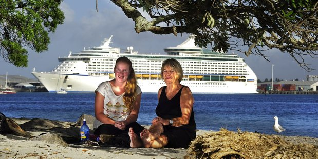 Lauren Thomas and her grand-mother Sue enjoy the view from Mount Maunganui base track
