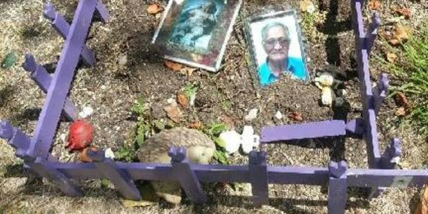 The grave of Stephanie Pinkerton's daughter and her father has been destroyed by vandals.