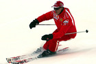 File photo of Formula One driver Michael Schumacher of Germany speeding down a course in the Madonna di Campiglio ski resort. Photo / AP