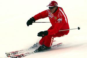 File photo of Formula One driver Michael Schumacher of Germany speeding down a course in the Madonna di Campiglio ski resort. Photo / AP