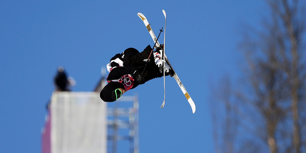 Kiwi Josiah Wells takes a jump during the men's ski slopestyle qualifying at the Rosa Khutor Extreme Park, at the 2014 Winter Olympics. Photo / AP