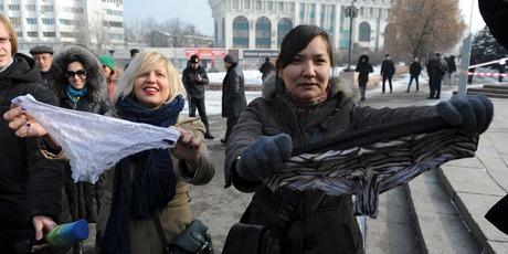 Women protest against the ban of lace underwear in Almaty, Kazakhstan. Photo / AP