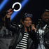 Bruno Mars seen on stage after winning the award for International Male Solo Artist at the BRIT Awards 2014 at the O2 Arena in London. Photo / AP