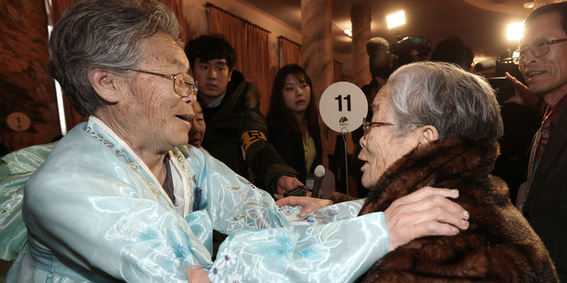 South Korean Kim Sung-yoon, 96, right, meets with her North Korean sister Kim Seok Ryu, 80, during the Separated Family Reunion Meeting at Diamond Mountain resort in North Korea. Photo / AP