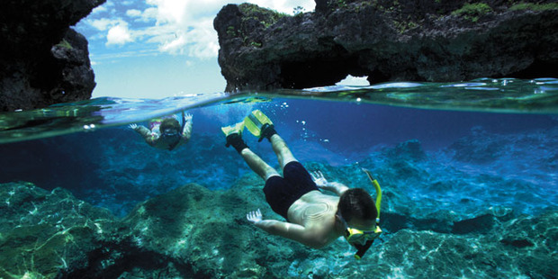 Snorkeling in Niue; the island's venomous sea snakes prefer to keep their distance from inquisitive humans.