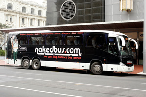A Nakedbus pulls into Quay Street in Auckland.