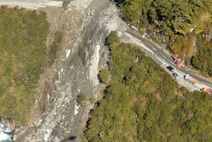 Haast Pass highway blocked by a slip last year. Photo / Otago Daily Times