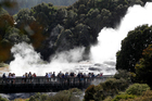 When in full play, the Pohutu Geyser at Te Puia shoots 30m into the air. Photo / Christine Cornege