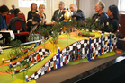 The unveiling of a model of the planned Hundertwasser building planned for the Whangarei Town Basin on the site of the old NRC headquarters. PHOTO/MICHAEL CUNNINGHAM