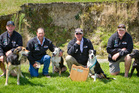 Winners at the Hawke's Bay Sheep Dog Trial Centre championships at Omakere on Sunday were Tony Fairweather (left) and Reign (zig zag hunt), Aaron Ryan and Rod (long head), Graeme Ryder and Scott (short head and yard), and Quentin Hunter and Brooke (straight hunt). Photo/Glenn Taylor