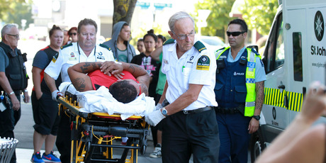 A man was taken from Hastings District Court by ambulance after he jumped out of the dock during a court appearance. Photo/Duncan Brown