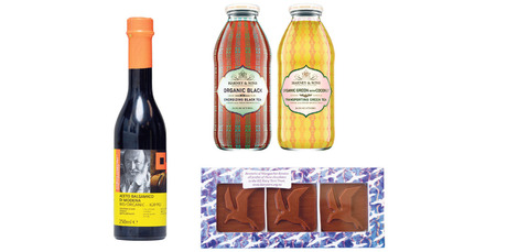 Girolomoni organic balsamic vinegar; Iced tea and juices from Harney and Sons; Bennetts chocolate.