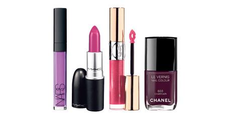 Nars Lip Gloss in Sheer Violet; M.A.C Lipstick in Heavenly Hybrid; YSL Gloss Volupte in Terriblement Fuchsia; Chanel Le Vernis Charivari.