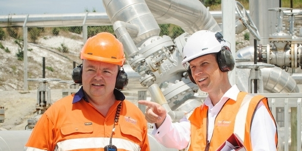 STEAM POWERED: Top Energy's Ngawha manager Ray Robinson (left) surveys the site with general manager finance Paul Doherty. PHOTO/SUPPLIED