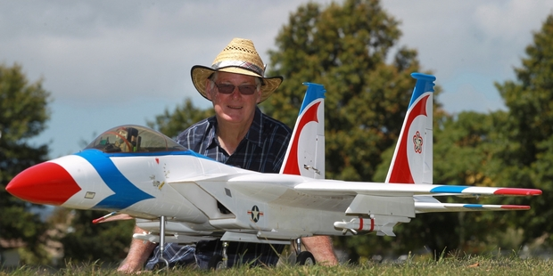 READY FOR TAKE-OFF: Model Flying Hawke's Bay Inc member Harvey Stiver with his Douglas McDonnell F-15 Eagle jet that he will be flying at this weekend's Warbirds Over Awatoto. PHOTO/DUNCAN BROWN HBT140994-03