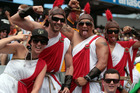 Fans enjoying the NRL Auckland Nines at Eden Park. Photo / Doug Sherring