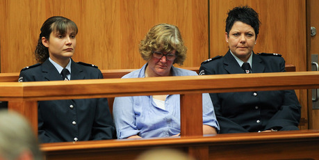 Helen Milner (C) sits in court in Christchurch, New Zealand. Photo / Martin Hunter