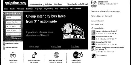A screenshot of the Nakedbus website with the use of the trademarked term 'Inter city.'