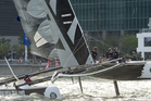Emirates Team New Zealand competeing in day one of the Extreme Sailing Series regatta being sailed in Singapore. Photo / ETNZ