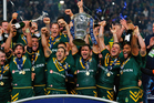 The Kangaroos celebrate after winning last year's Rugby League World Cup final. Photo / Getty Images