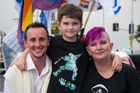 Andrew Guy, Ben Brockwell-Jones and Beccy Jones at the Auckland Pride Festival.