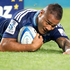 Super Rugby: Blues Frank Halai scores a try against the Crusaders at Eden Park. Photo / Richard Robinson