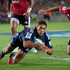 Super Rugby: Blues Jackson Willison scores a try against the Crusaders at Eden Park. Photo / Richard Robinson