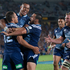 Super Rugby: Blues celebrate Jackson Willison's try against the Crusaders at Eden Park. Photo / Richard Robinson