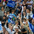 Super Rugby: Blues fans celebrate a try against the Crusaders at Eden Park. Photo / Richard Robinson