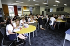 A rebuild at Te Puke High School has allowed for the creation of modern learning environments where one large open plan learning pod can be home to up to three classes. Photo / George Novak