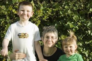 Bradley and Ellen Livingstone with their mother, Katharine Webb.