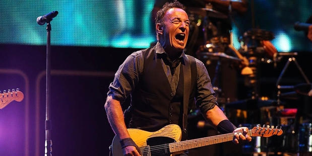 Bruce Springsteen rocks out at Mt Smart Stadium last night. Photo / Chris Loufte