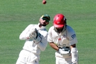 Stags wicket keeper Kruger van Wyk bobbles a ball after Wizards batsman Dean Brownlee is beaten on day two. Photo/Paul Taylor