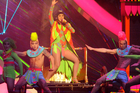Katy Perry performs Dark Horse at the Brit Awards. Photo/AP