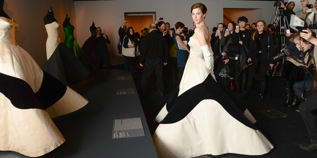 Model Elettra Wiedemann in a facsimile of Charles James' famous 'Clover Leaf Gown' at the Costume Institute presentation of the upcoming exhibition Charles James: Beyond Fashion. Photo / Supplied