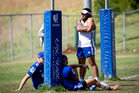Ma'a Nonu and the Blues at training today. Nonu is doubtful for the two-game tour to South Africa. Photo / Dean Purcell