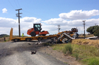 A truck driver is dead following a collision between his truck and a passenger train in Waikato today. Photo / Christine Cornege.