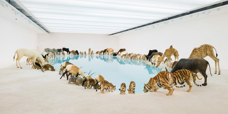 'Heritage 2013', part of Cai Guo-Qiang's exhibition, features 99 replicas of wild animals situated around the circumference of a pond.