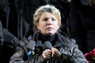 Former Ukrainian PM Yulia Tymoshenko speaking to the crowd in Independence Square, Kiev. Photo / AP