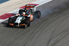 Formula One driver Sergio Perez of Force India speeds down the track during pre-season testing at the Bahrain International Circuit in Sakhir, Bahrain. Photo / AP