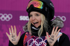 Freeskiers' casual attitudes have been criticised since Anna Willcox-Silfverberg displayed messages on her hands after qualifying  at Sochi. Photo / AP