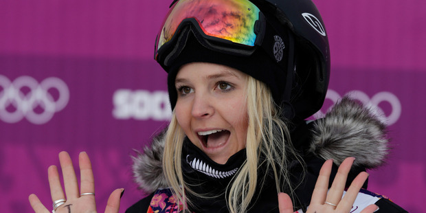 Loading Freeskiers' casual attitudes have been criticised since Anna Willcox-Silfverberg displayed messages on her hands after qualifying  at Sochi. Photo / AP