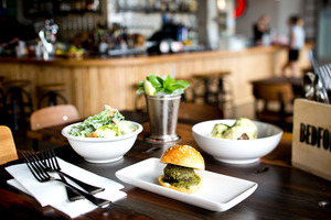 Meat ball slider, caesar salad and meat balls on polenta from Bedford Soda & Liquor. Photo / Babiche Martens.